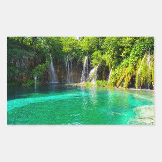 Waterfalls at Plitvice National Park in Croatia Rectangular Sticker