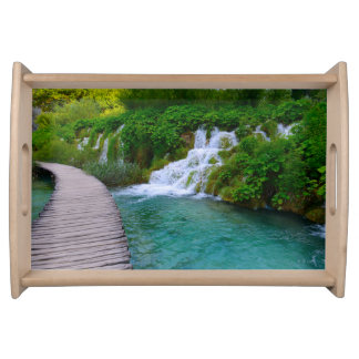 Waterfalls at Plitvice National Park in Croatia Serving Tray