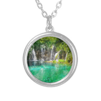 Waterfalls at Plitvice National Park in Croatia Silver Plated Necklace