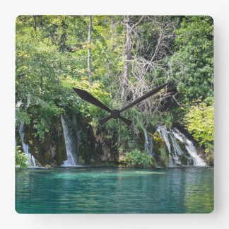 Waterfalls at Plitvice National Park in Croatia Square Wall Clock
