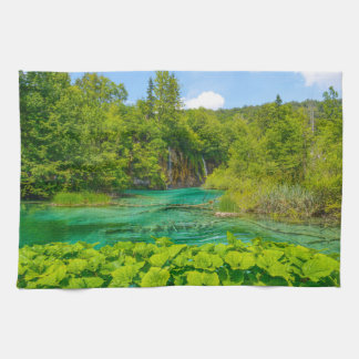 Waterfalls at Plitvice National Park in Croatia Tea Towel