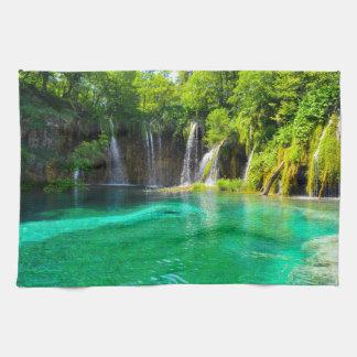 Waterfalls at Plitvice National Park in Croatia Tea Towel