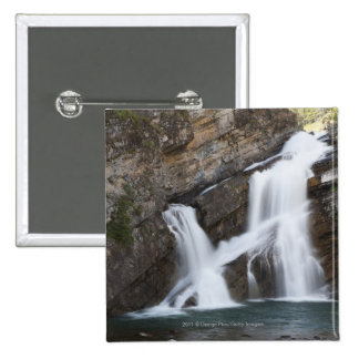 Waterfalls Coming Out Of A Rock Cliff 15 Cm Square Badge
