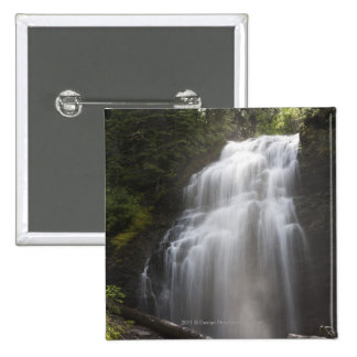 Waterfalls Flowing Down A Rock Cliff 15 Cm Square Badge