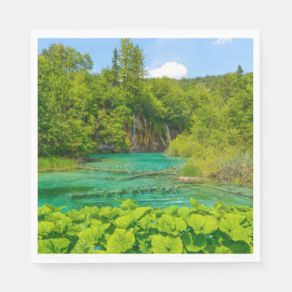 Waterfalls in Plitvice National Park in Croatia Disposable Napkins