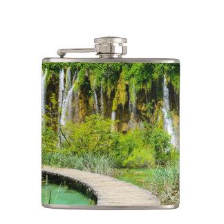 Waterfalls in Plitvice National Park in Croatia Flask