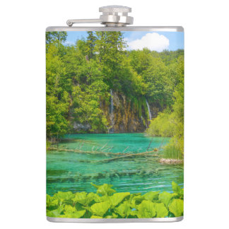 Waterfalls in Plitvice National Park in Croatia Hip Flask