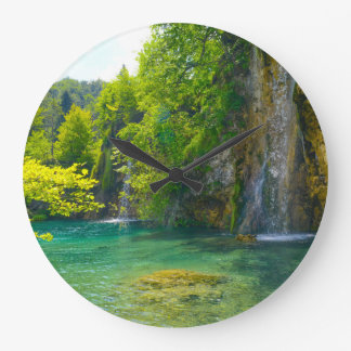 Waterfalls in Plitvice National Park in Croatia Large Clock