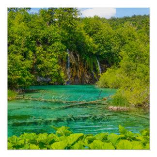 Waterfalls in Plitvice National Park in Croatia Poster