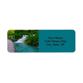 Waterfalls in Plitvice National Park in Croatia Return Address Label