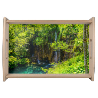 Waterfalls in Plitvice National Park in Croatia Serving Tray