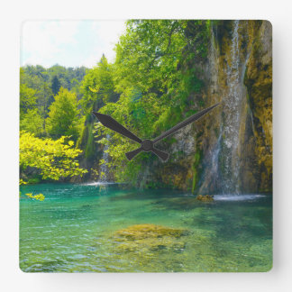 Waterfalls in Plitvice National Park in Croatia Square Wall Clock