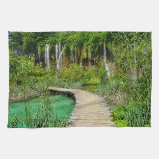 Waterfalls in Plitvice National Park in Croatia Tea Towel