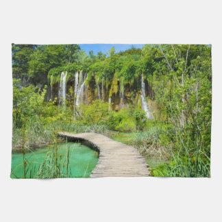 Waterfalls in Plitvice National Park in Croatia Tea Towel