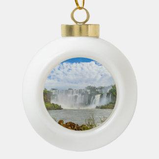 Waterfalls Landscape at Iguazu Park Ceramic Ball Christmas Ornament