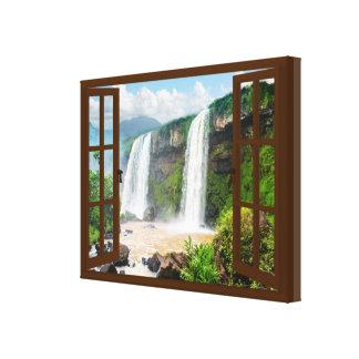 Waterfalls View Faux Window Canvas Print