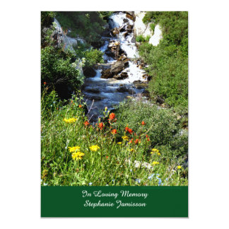 Waterfalls Wildflowers Memorial Service Invitation