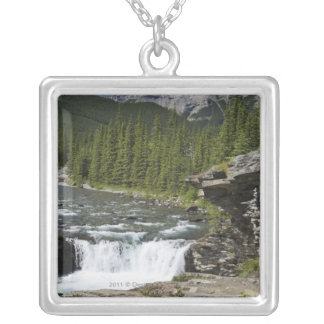 Waterfalls With Rock Ledge And A Mountain Custom Necklace