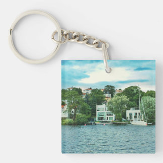 Waterfront houses in Sweden Key Ring