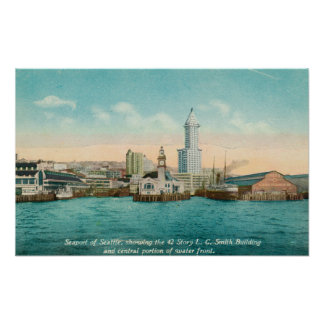 Waterfront View of Port and Smith Tower Print