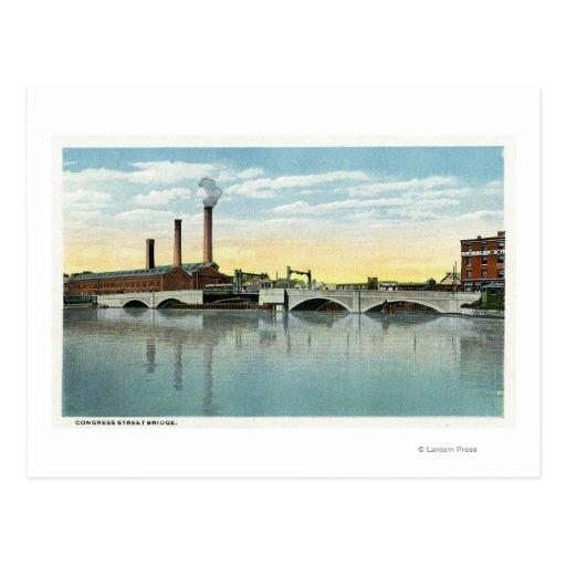 Waterfront View of the Congress Street Bridge Postcards