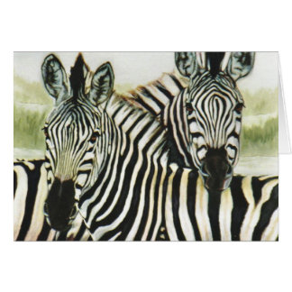 """Waterhole Zebras"" Greeting Card"