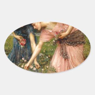 Waterhouse-gather_ye_rosebuds-1909. Oval Sticker