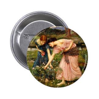 Waterhouse Gather Ye Rosebuds Button