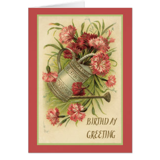 Watering Can and Pink Carnations Card