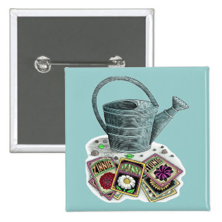 Watering Can and Seed Packets Design 15 Cm Square Badge