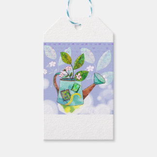Watering Can Flowers Pot - Watercolor illustration Gift Tags