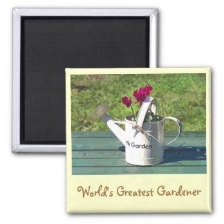 WATERING CAN SQUARE MAGNET