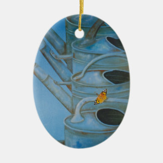 Watering cans wall hanging for outside ceramic oval decoration