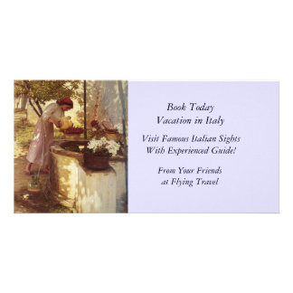 Watering Flowers From the Well Photo Card Template