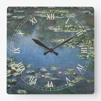 Waterlilies by Claude Monet, Vintage Flowers Square Wall Clock