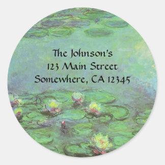 Waterlilies by Claude Monet, Vintage Impressionism Classic Round Sticker