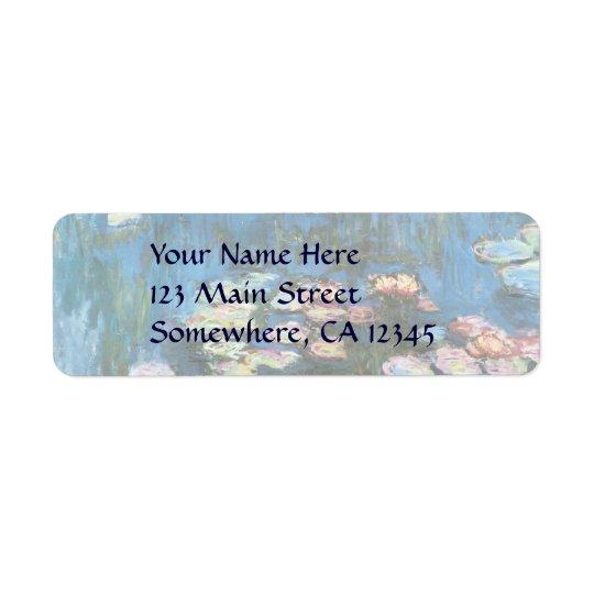 Waterlilies by Claude Monet, Vintage Impressionism Return Address Label