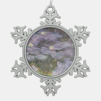 Waterlilies Snowflake Pewter Christmas Ornament