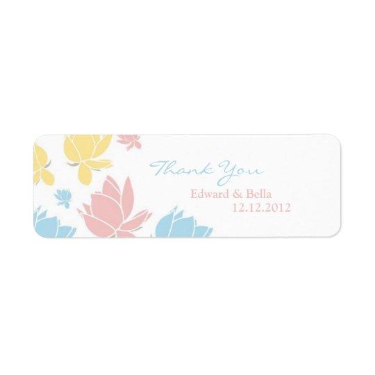 Waterlilly Wedding Thank You Gift Tag Label Return Address Label