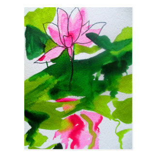 Waterlily abstract watercolour flower art postcard
