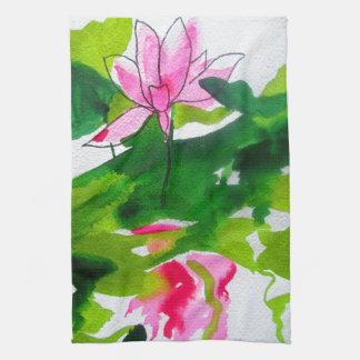 Waterlily abstract watercolour flower art tea towel