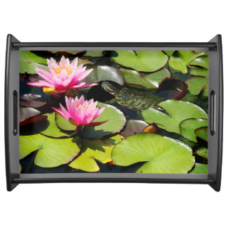 Waterlily Flowers Lilypads Turtle Serving Tray