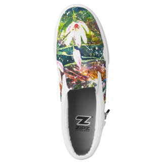 Waterlily pond watercolor slip on shoes