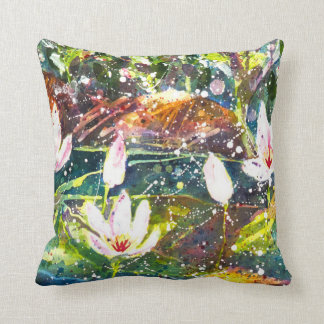 Waterlily pond watercolor throw pillow