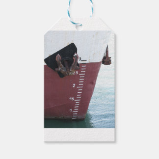 Waterline marked on the ship with scale numbering gift tags