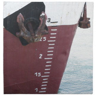 Waterline marked on the ship with scale numbering napkin