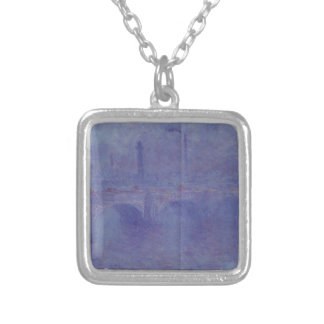 Waterloo Bridge, Effect of Fog by Claude Monet Silver Plated Necklace