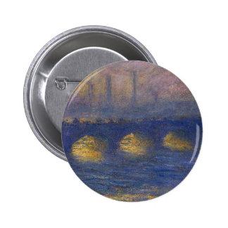 Waterloo Bridge, Overcast Weather by Claude Monet 6 Cm Round Badge