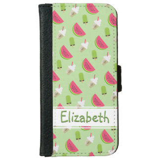 Watermelon and Ice Cream Pattern with Name iPhone 6 Wallet Case