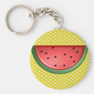 Watermelon and Polks Dots Key Ring